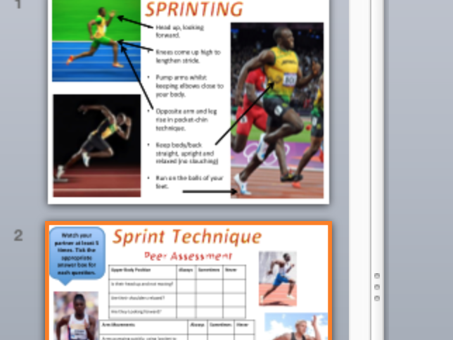 Sprinting resource and worksheet