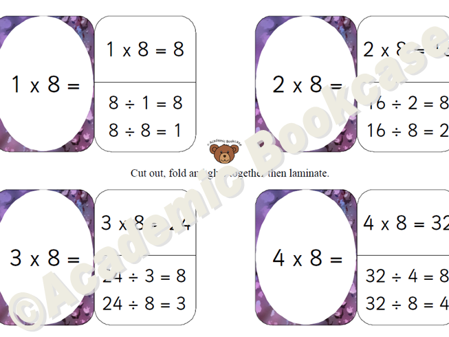 8 times table self check flashcards with inverse on the back
