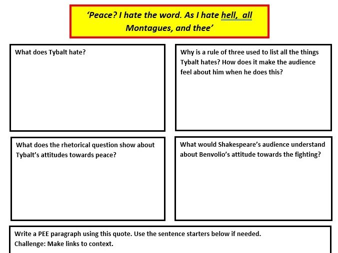 Romeo and Juliet lesson workbook