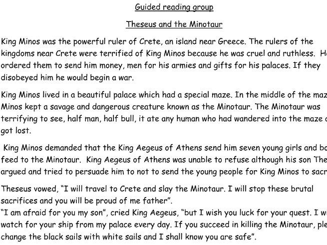 Guided reading based on Theseus and the Minotaur with learning objective, suggested questions (7) an