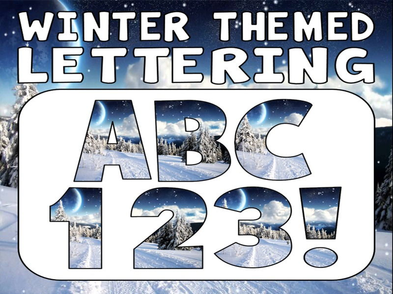 WINTER THEMED DISPLAY LETTERING- LETTERS, NUMBERS, PUNCTUATION- SEASONS CHRISTMAS WEATHER