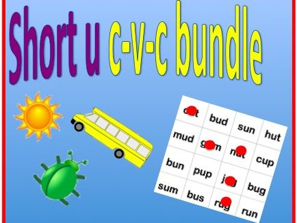 Short u cvc bundle - worksheet and bingo game