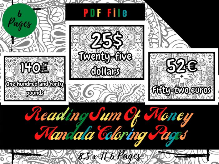 Reading Sums Of Money Mandala in The Background Coloring Pages For Kids, Sheets PDF, Printable Pages