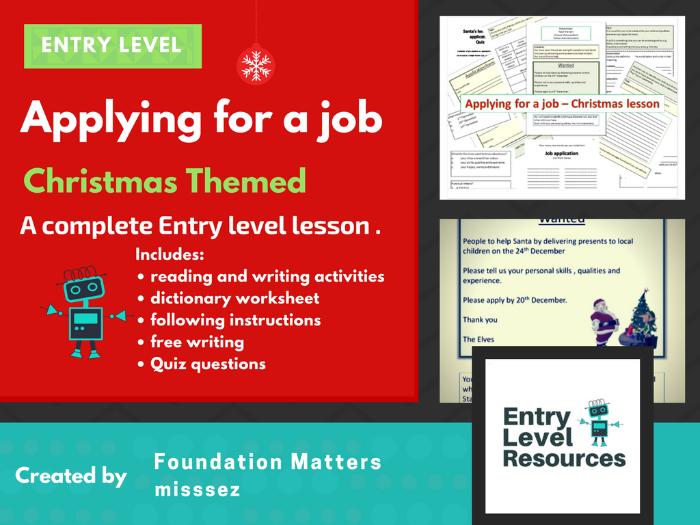 Applying for a job - Christmas lesson