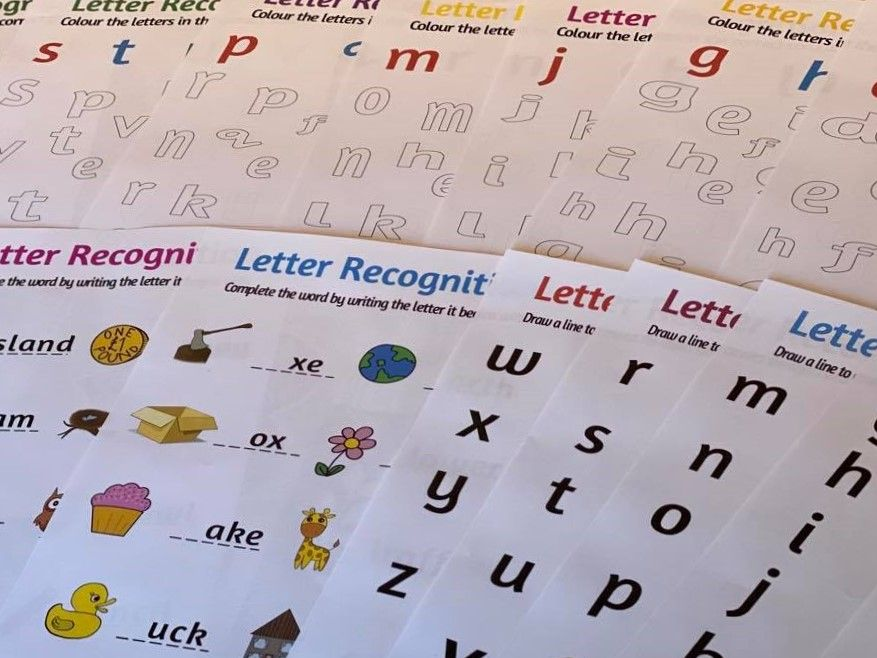 Home Learning Worksheets - Letter Recognition, 16 colourful fun sheets