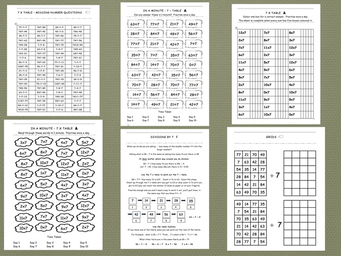 Seven Times Table - Comprehensive Workbook