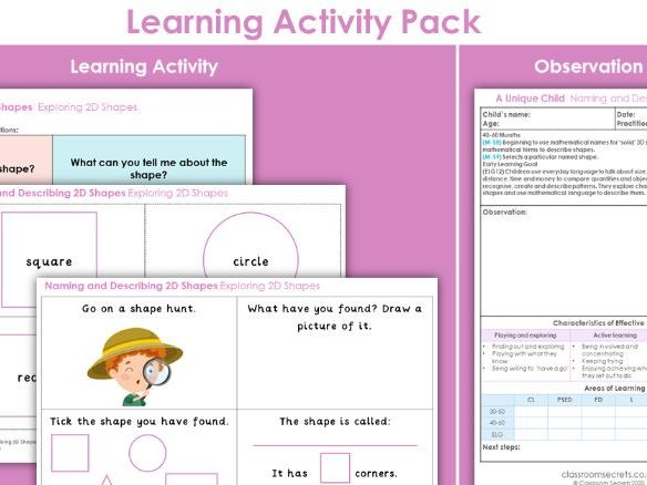 EYFS Maths Exploring 2D Shapes Learning Activity
