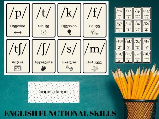 E3 Functional Skills English 24X Phonics Flash Cards - Spelling / Reading Common Words
