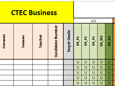 Cambridge Technicals in Business - CTEC Business 2016 - Excel Tracker