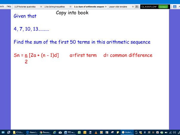 Sum of an arithmetic sequence-full lesson