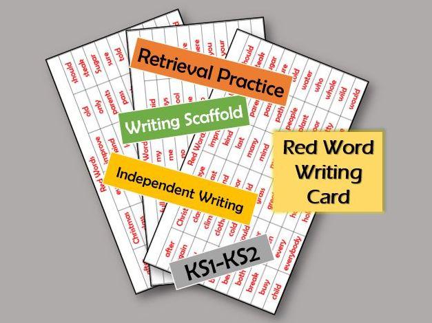 Red Word Card - Writing Scaffold