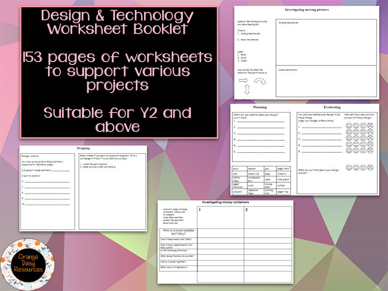 Design and Technology Worksheet Booklet for Y2 and above