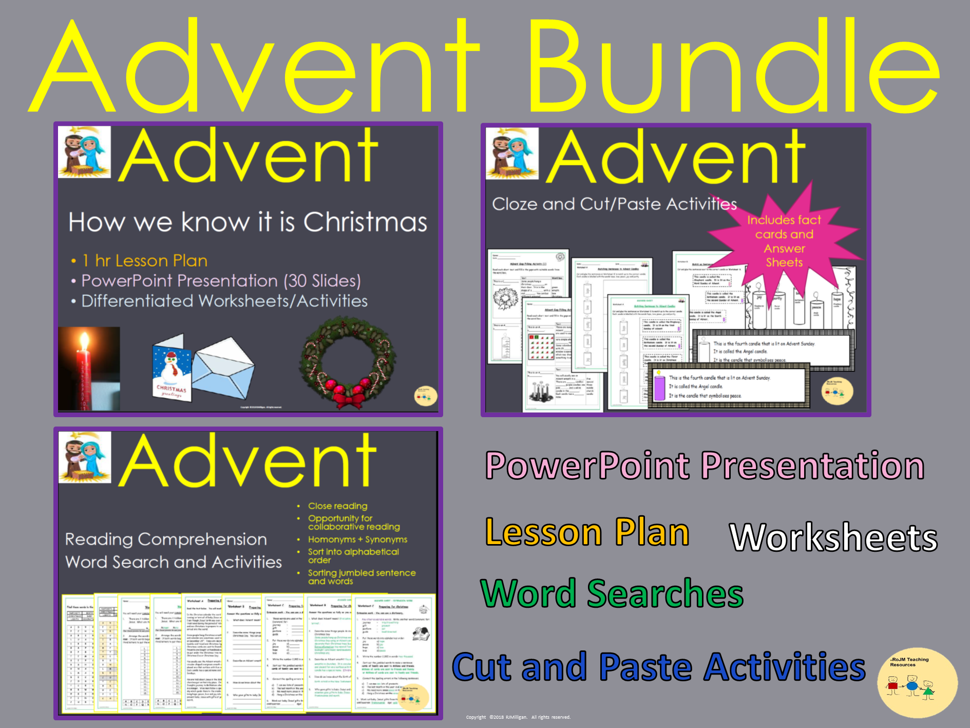 Advent Bundle - Presentation Lesson Plan Worksheets Activities Word Searches Information Text Reading Comprehension