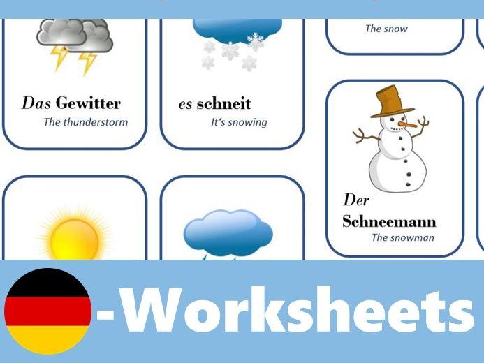 Das deutsche Wetter - Flash Cards to learn the German weather