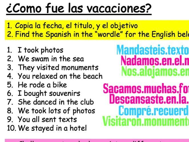 Year 8 Spanish - Module 1 - Viva 2 - Las Vacaciones