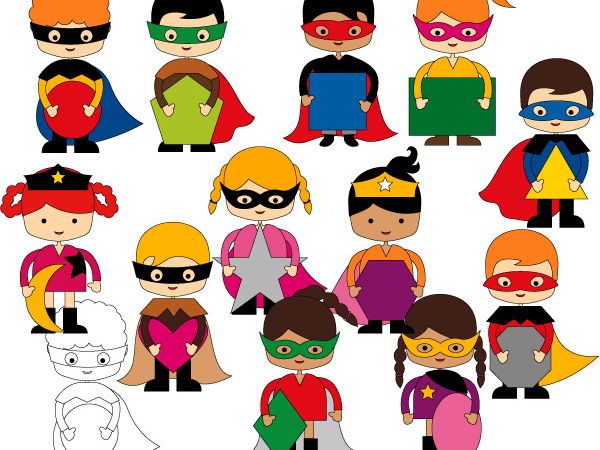 Superhero 2D Shapes Clipart - Multiracial students clip art