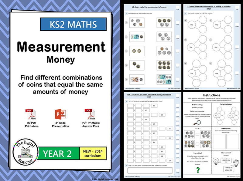 Year 2 - Find different combinations of coins that equal - White Rose, Bk 3, wk 9,10  (INC MASTERY)