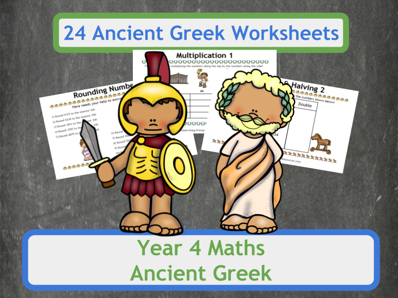 Ancient Greek Themed Maths Worksheets for Year 4 Classes