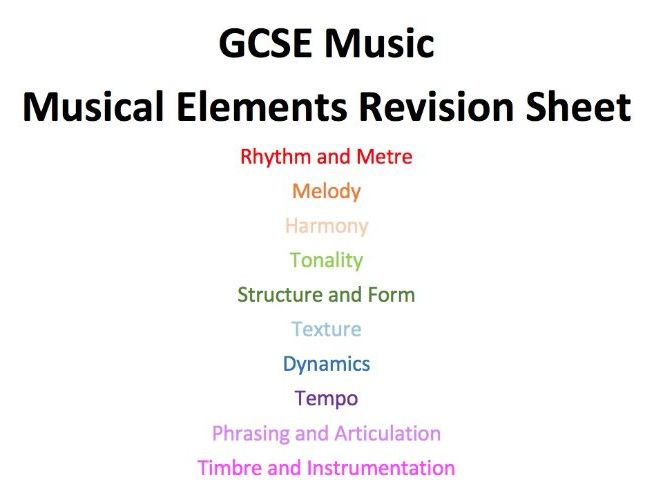 GCSE Music AQA Revision Musical Elements Sheets