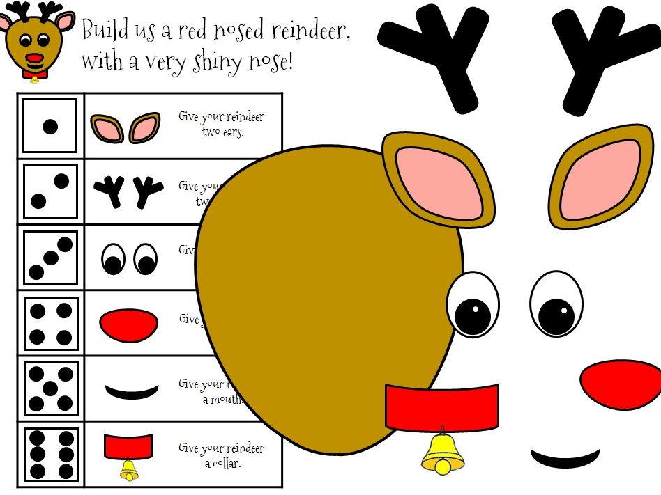 Build-a-Reindeer Christmas Dice Game