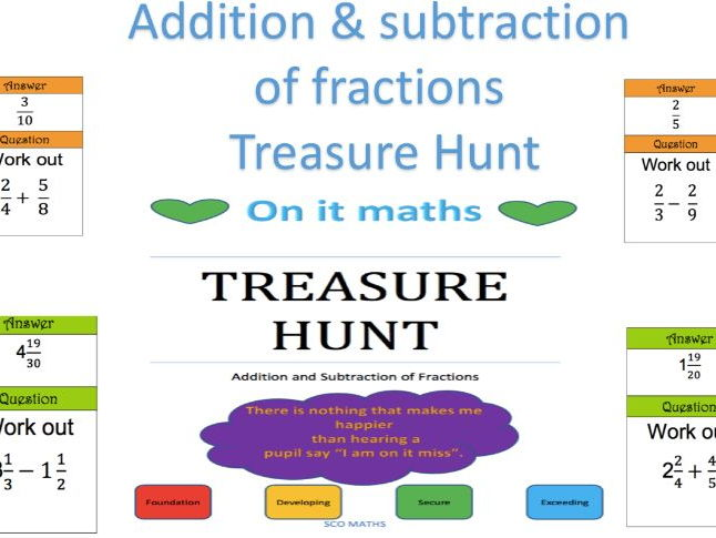 Fractions (Addition and Subtraction) - Treasure Hunt