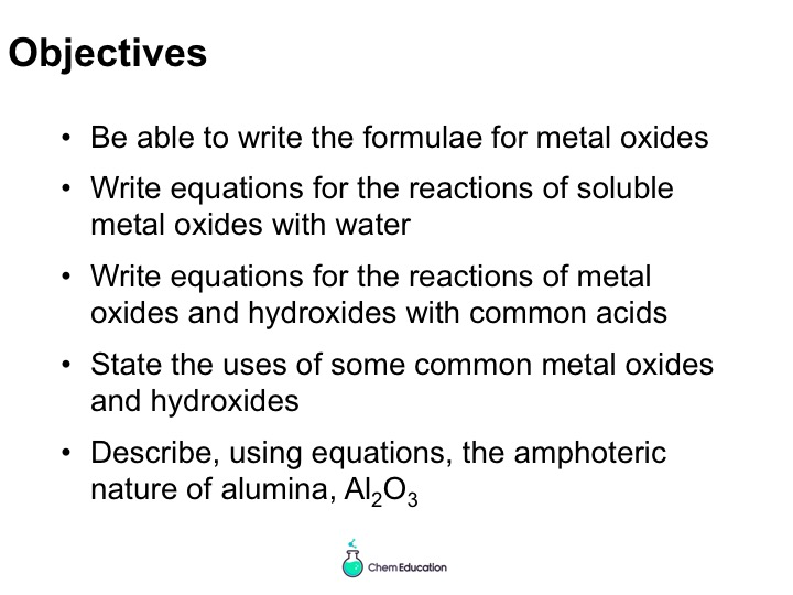 BTEC Applied Science Level 3 Unit 5 Chemistry - metal oxides and hydroxides powerpoint