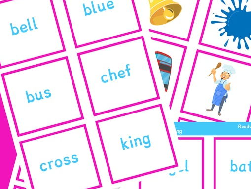 Picture matching flashcards with word and picture examples