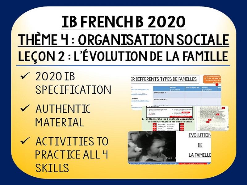 IB FRENCH B 2020 - Organisation Sociale L2 - L'évolution de la famille