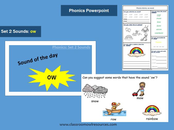 Phonics Powerpoint & Worksheet - ow sound
