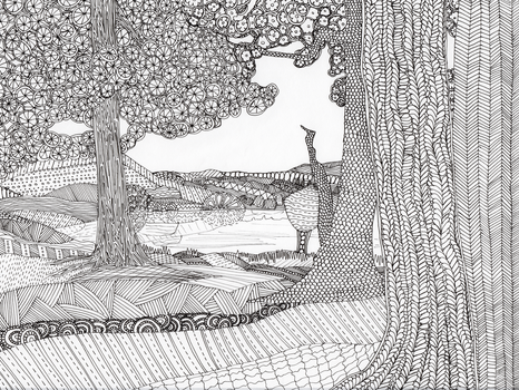 Trees by Lake Shore Colouring Page