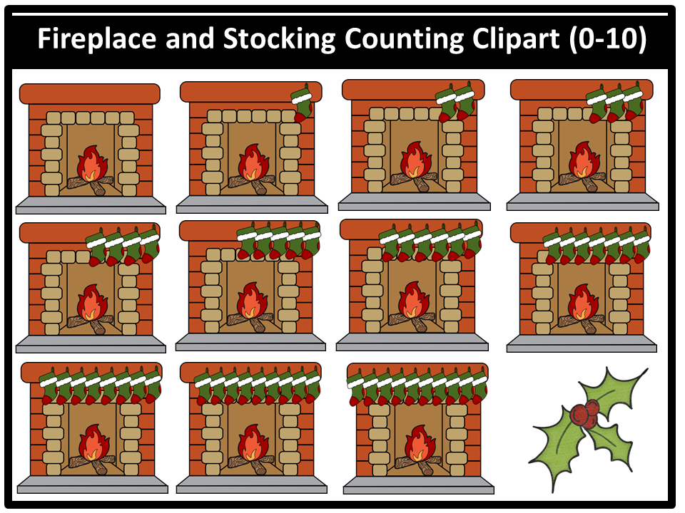 Fireplace and Stocking Counting Clipart (0-10)