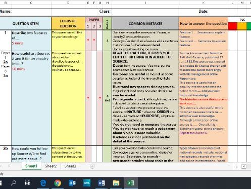 Edexcel Question stems and advice -  how to answer Paper 1,2 and 3 PLC