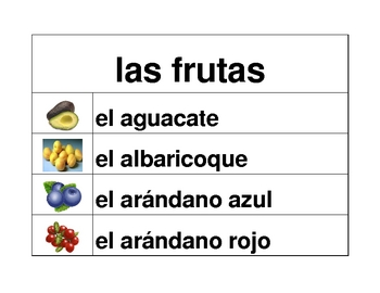 Frutas y Verduras (Fruits & vegetables in Spanish) word wall