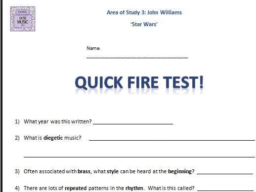 Quick Fire Test Star Wars- GCSE 9-1 Edexcel Music