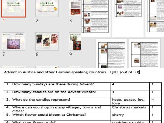 Christmas Presentation & quiz on 'Advent & Christmas in Austria and other German-speaking countries'