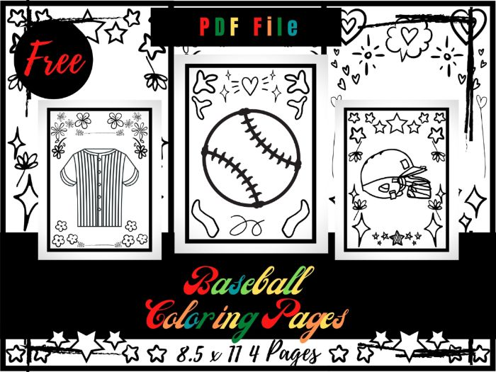 FREE Baseball Coloring Pages For kids, Free Sport Coloring Sheets PDF, Free Printable Pages