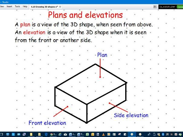 Drawing 3D shapes on isometric paper and front, side and plan elevation