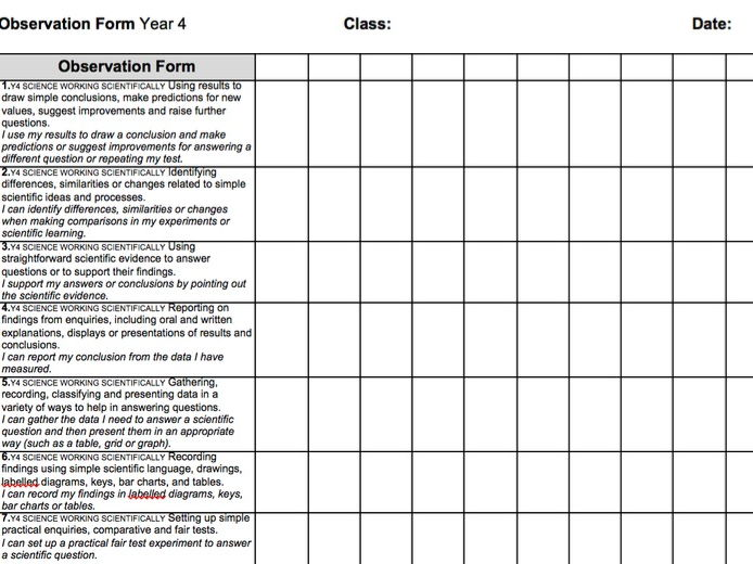 Year 4 2014 National Curriculum Science Assessment recording grid