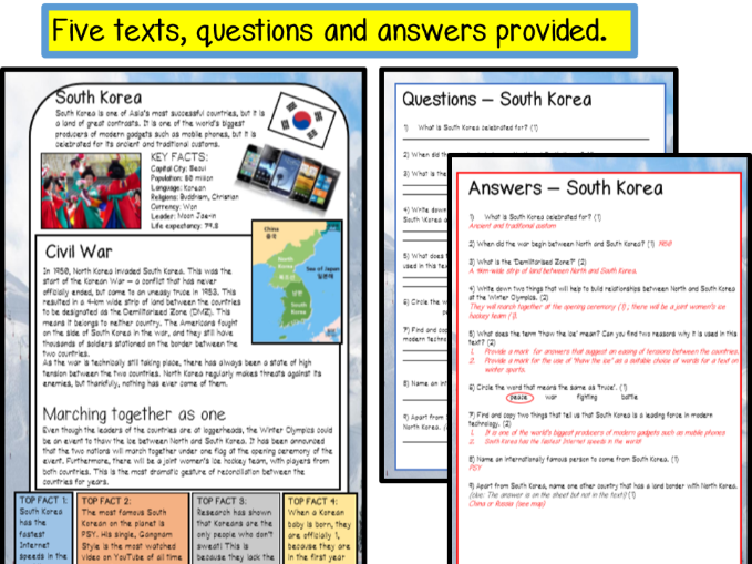 WINTER OLYMPICS 2018 - Reading comprehension and activity pack