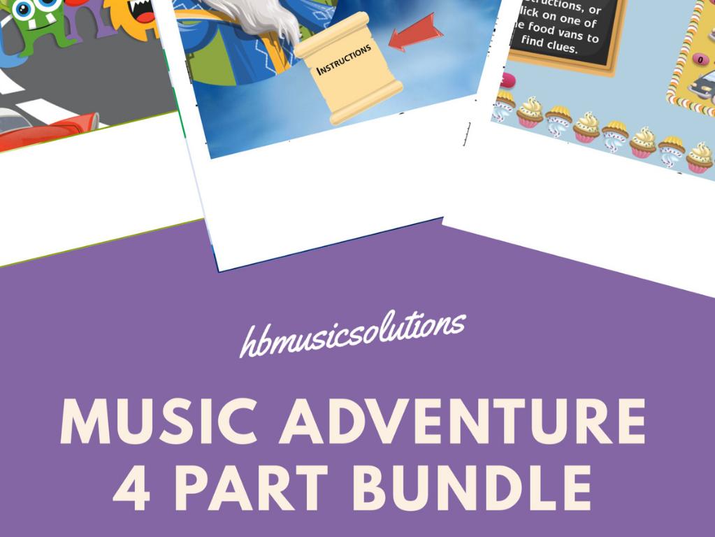 Distance Learning Music Adventure Games 4 part bundle