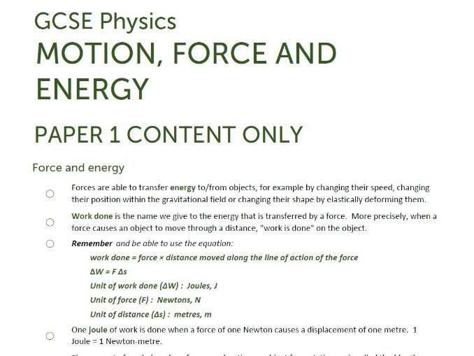 Paper 1 Extract of ENERGY/FORCES unit summaries/checklists for AQA GCSE Physics