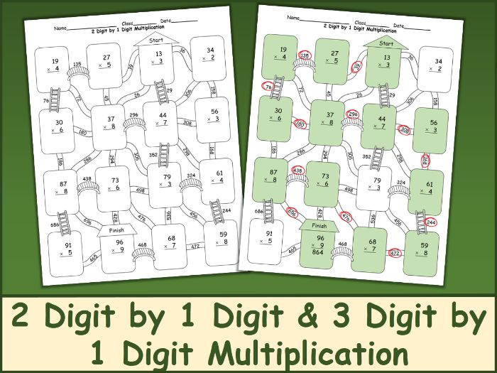 2 Digit by 1 Digit and 3 Digit by 1 Digit Multiplication Maze