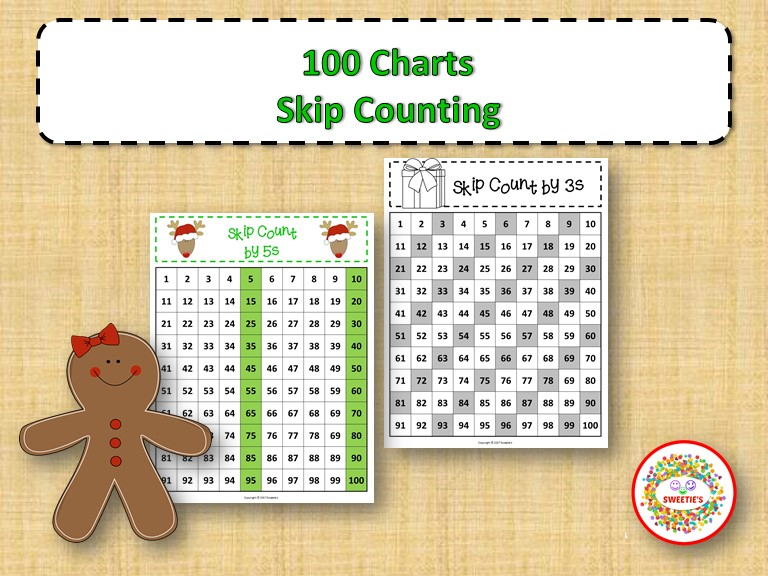100 Number Charts with Skip Counting - Christmas
