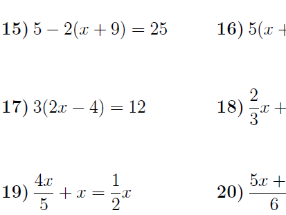 Solving linear equations (harder) worksheet (with solutions)