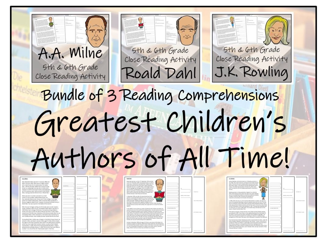 Greatest Children's Authors - Bundle of Reading Comprehension Activities