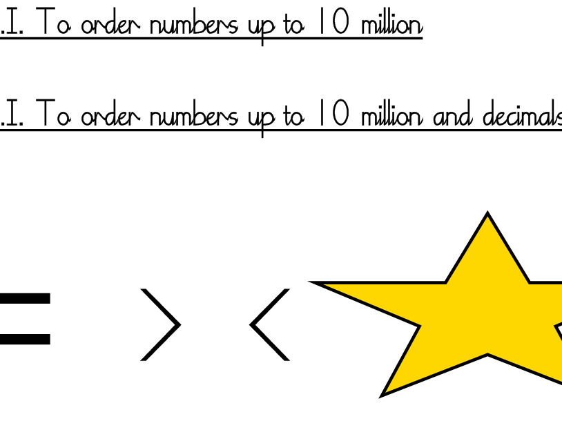 Place Value Year 6 Ordering Numbers - 4 levels of differentiation