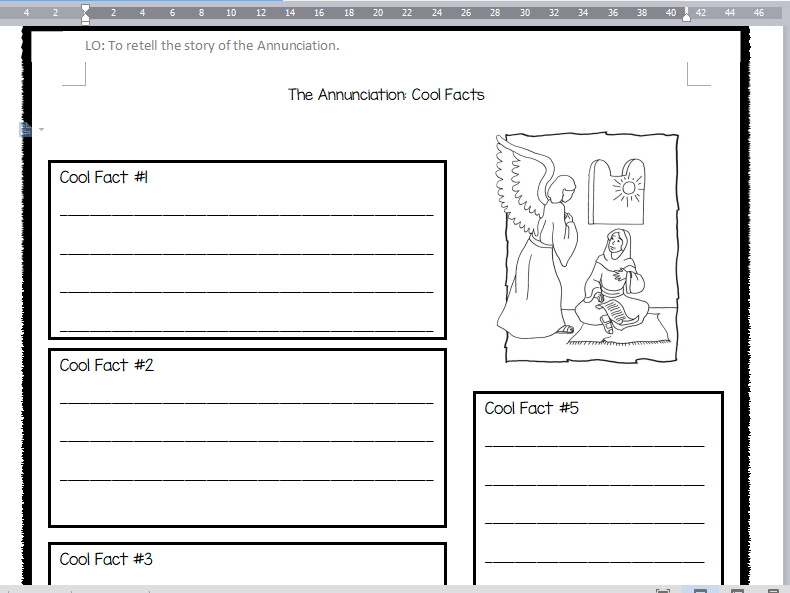 RE The Annunciation (Angel Gabriel appears to Mary) Worksheet and Activity KS1