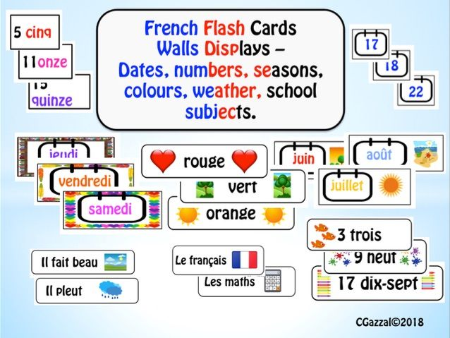 French Flash Cards and Wall Displays - dates, seasons, numbers, colours, weather, subjects.