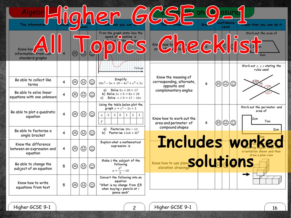 Maths GCSE 9-1 Higher revision topic checklist