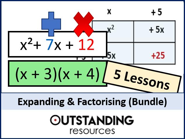 Algebra: Expanding & Factorising BUNDLE inc. Algebraic Fractions (5 Lessons)